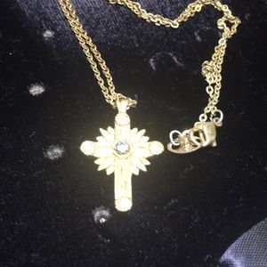 Vintage Avon gold tone cross necklace rhinestone